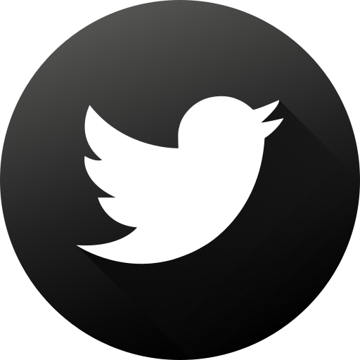 black twitter icon png black white, circle, high quality, long shadow, social
