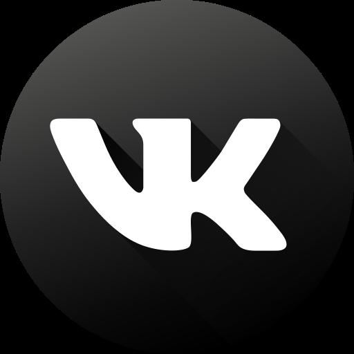 black white, circle, high quality, long shadow, social, social media, vk icon