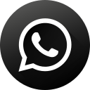 black white, circle, high quality, long shadow, social, social media, whatsapp icon