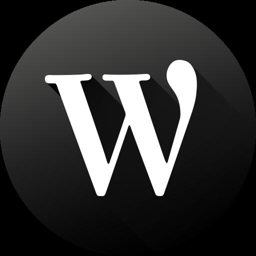 black white, circle, high quality, long shadow, social, social media, wordpress icon
