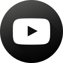 black white, circle, high quality, long shadow, social, social media, youtube icon