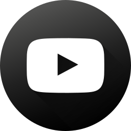 black white, circle, high quality, long shadow, social, social media, youtube icon