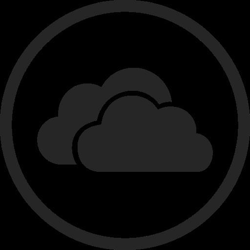 circle, high quality, media, onedrive, social, social media, storage icon