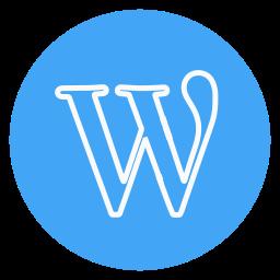 circle, outline, social-media, wordpress icon