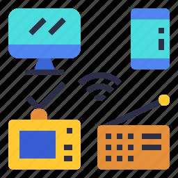 broadcast, computer, media, mobile, radio, tv, wifi icon