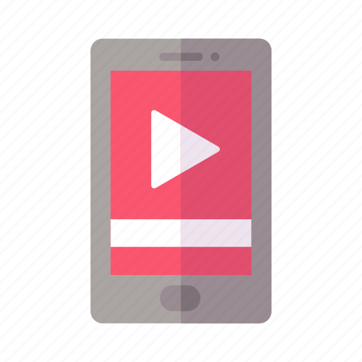mobile phone, social media, video play icon