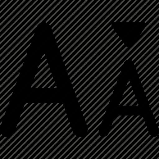 change, decrease, font, letter, size, smaller, type icon