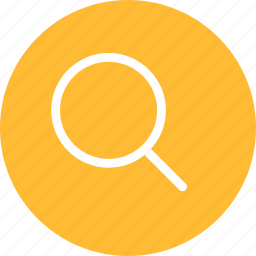 circle, find, glass, magnifying, search, yellow icon