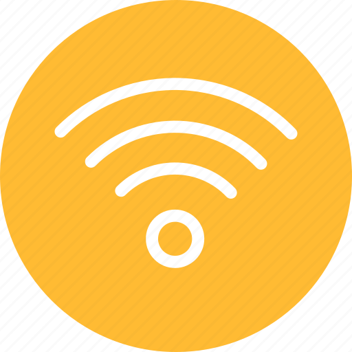 circle, internet, network, signal, wifi, yellow icon