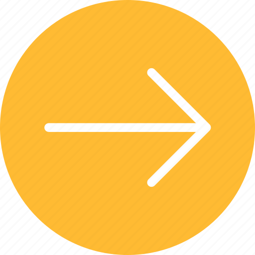 arrow, circle, east, forward, next, right, yellow icon