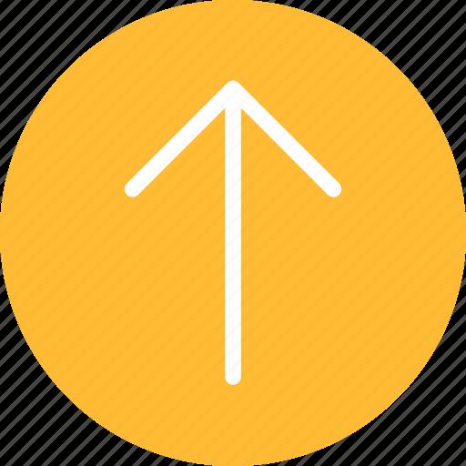 arrow, circle, climb, direction, north, yellow icon