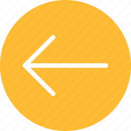 arrow, circle, direction, left, previous, west, yellow icon