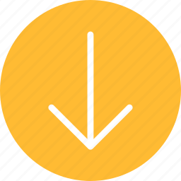 arrow, circle, descend, down, downward, yellow icon