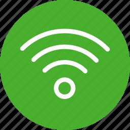 circle, green, internet, network, signal, wifi icon
