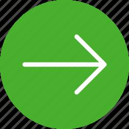 arrow, circle, east, forward, green, next, right icon