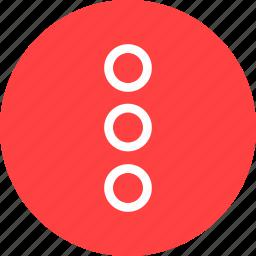 circle, dots, menu, navigate, popup, red icon