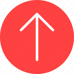 arrow, circle, climb, direction, north, red icon