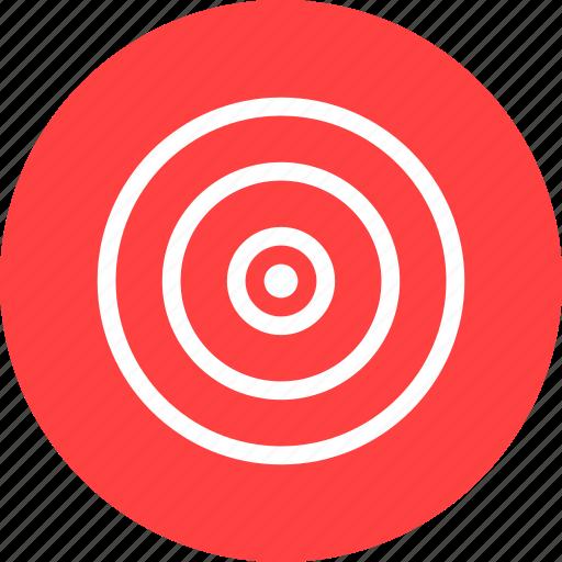 aim, bullseye, efficiency, goal, marketing, objective, red icon
