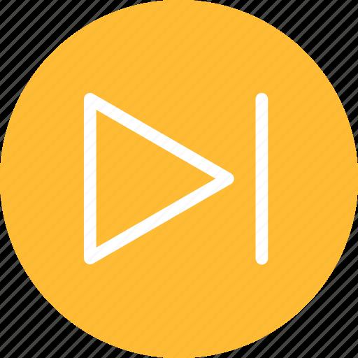 arrow, circle, forward, next, right, yellow icon