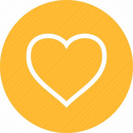 circle, dating, favorite, heart, like, love, yellow icon