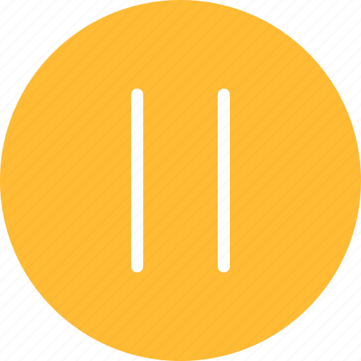 circle, media, pause, player, yellow icon