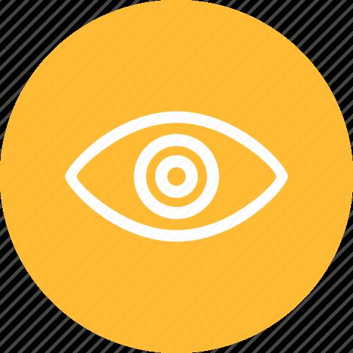 agent, circle, eye, security, spy, yellow icon