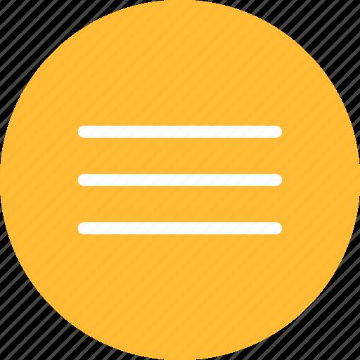 circle, hamburger, list, menu, navigation, yellow icon