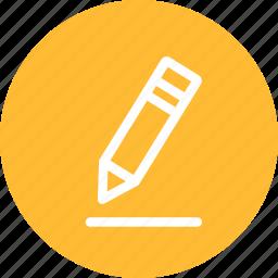 circle, edit, pen, pencil, write, yellow icon