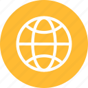circle, earth, globe, planet, world, yellow icon