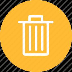 bin, circle, delete, remove, trash, yellow icon