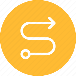 circle, direction, map, route, way, yellow icon