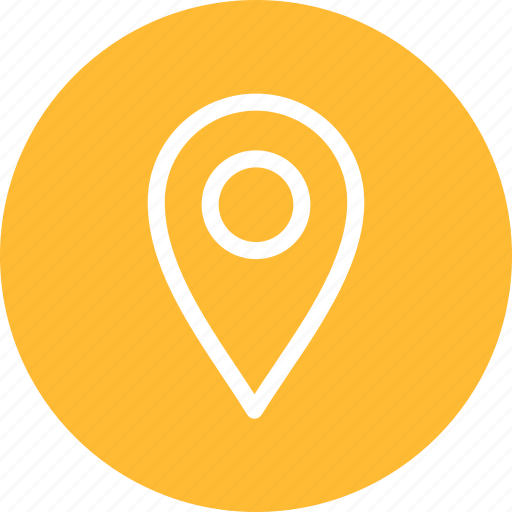 circle, gps, location, map, navigation, pin, yellow icon