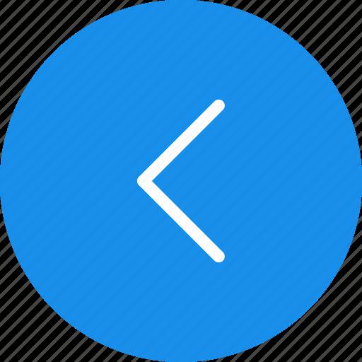 arrow, blue, circle, direction, left, previous, west icon