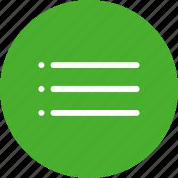 bullet, circle, green, list, menu, navigation icon
