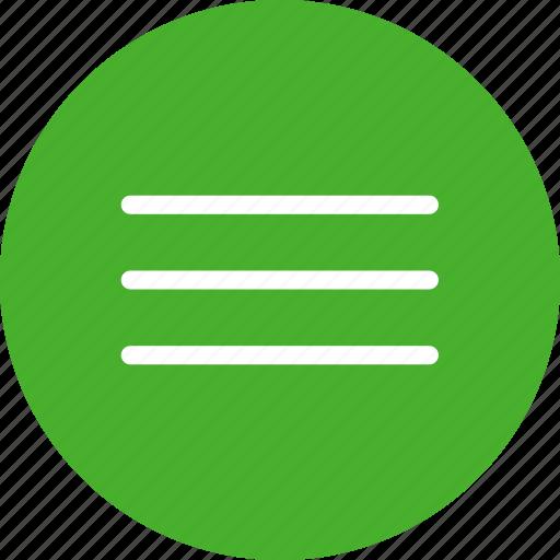 circle, green, hamburger, list, menu, navigation icon
