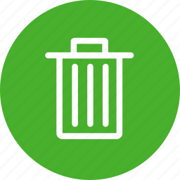 bin, circle, delete, green, remove, trash icon