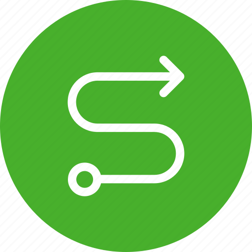 circle, direction, green, map, route, way icon