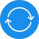 arrows, blue, circle, refresh, reload, sync icon
