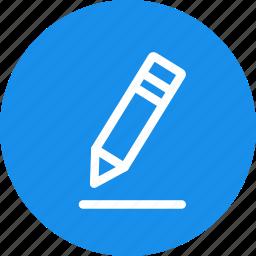 blue, circle, edit, pen, pencil, write icon