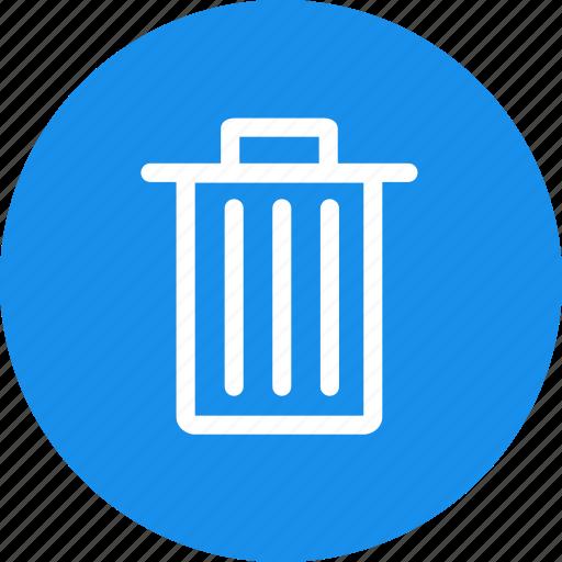 bin, blue, circle, delete, remove, trash icon