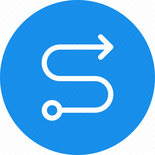 Blue, circle, direction, map, route, way icon - Download on Iconfinder