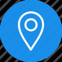 blue, circle, gps, location, map, navigation, pin