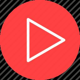 circle, movie, next, play, red, start, video icon