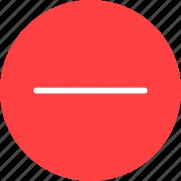 cancel, close, delete, exit, minus, red, remove icon