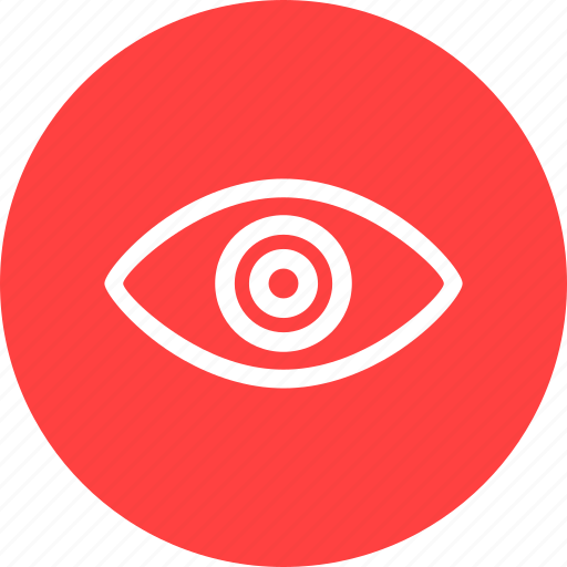 agent, circle, eye, red, security, spy icon