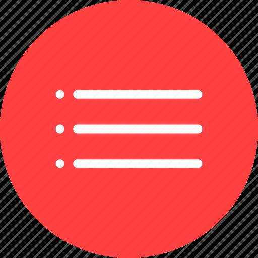 bullet, circle, list, menu, navigation, red icon