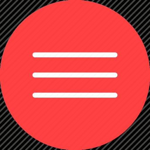 circle, hamburger, list, menu, navigation, red icon