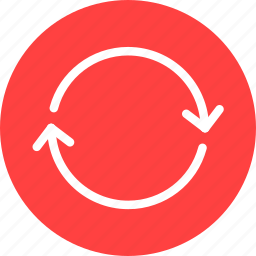 arrows, circle, red, refresh, reload, sync icon