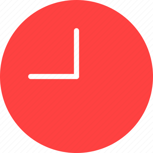 circle, clock, red, time, timing, watch icon