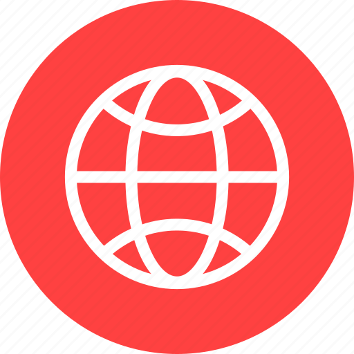 circle, earth, globe, planet, red, world icon